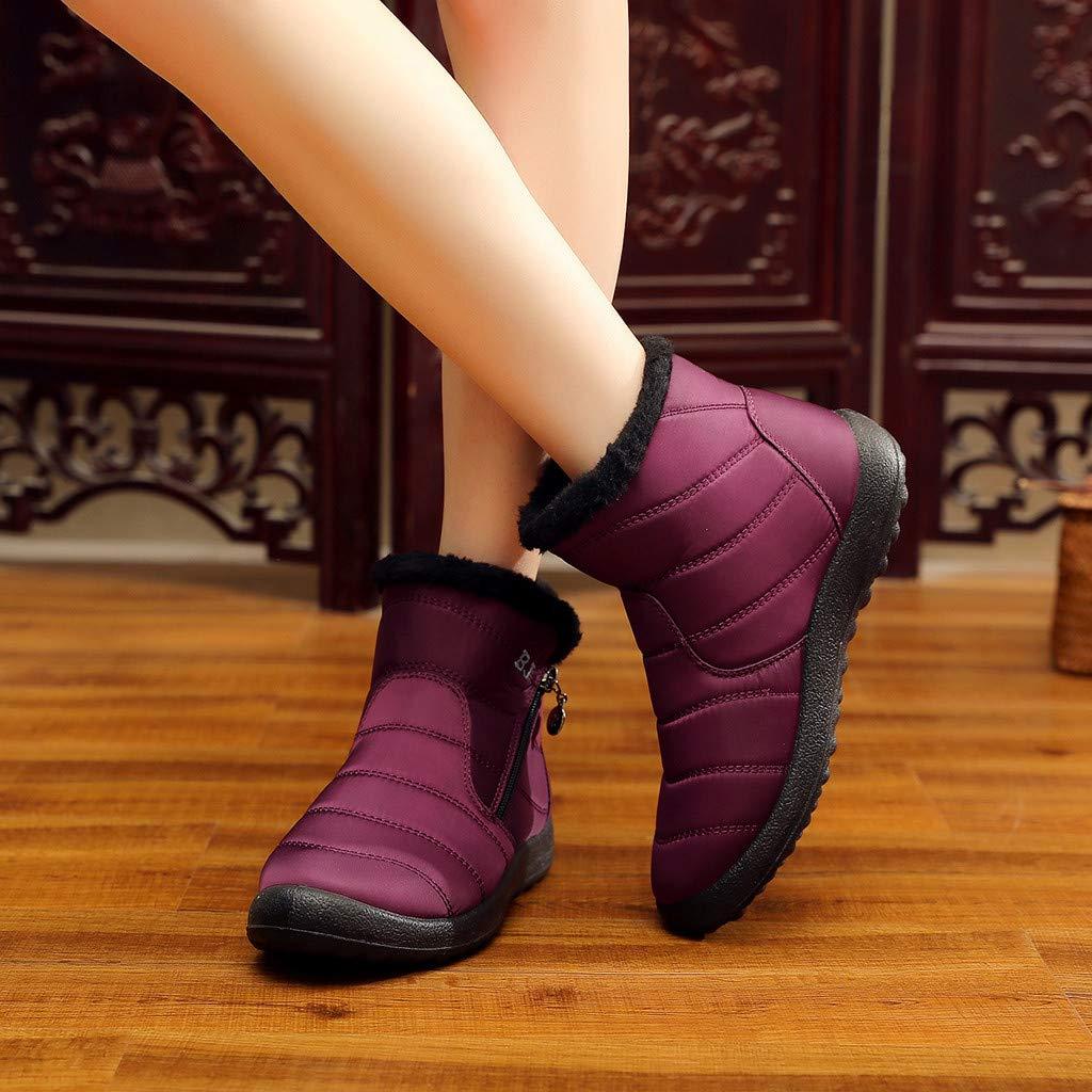 Logobeing Botines Mujer 2019 Plataforma Zapatos de Algod/ón Impermeables C/álidos de Invierno Botas Cortas de Tobillo de Nieve de Nylon Botas