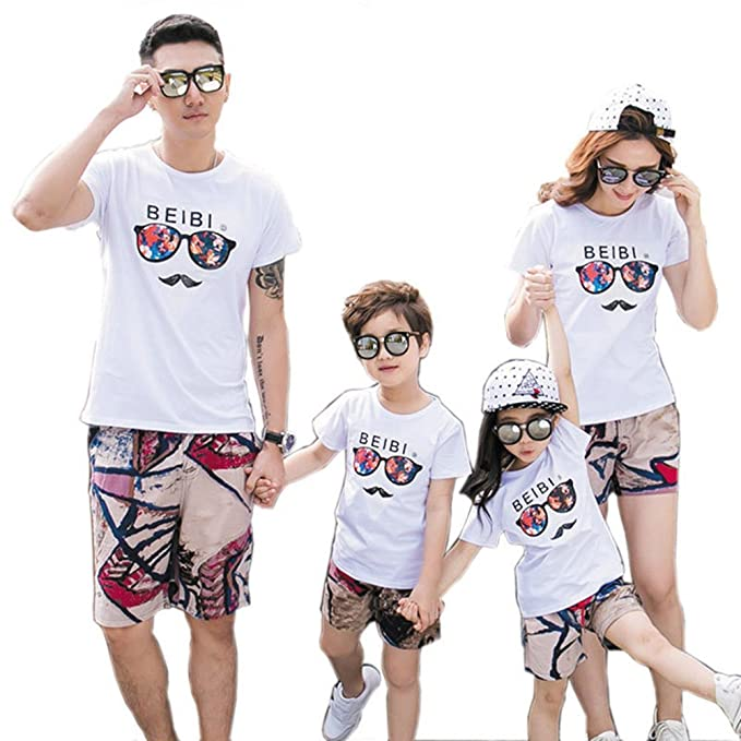 ce66be3b New Summer Beach Family Clothing Sets Father Mother Kids White T-Shirt  Shorts (Boy