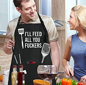 LACOMA Cooking Apron - I'll Feed All You Fuckers - Funny Aprons for Men Women Chef, Adjustable Bib Apron with 3 Pockets and 42.7