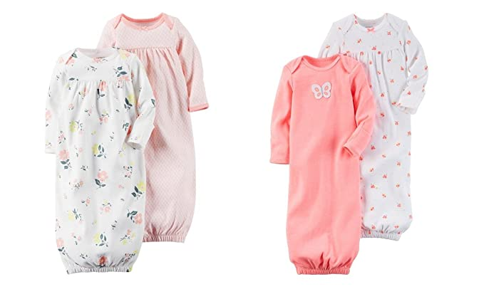 b2e449a6d Image Unavailable. Image not available for. Color: Carter's Baby Girl  Sleeper Gowns ...