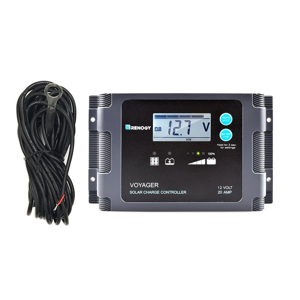 Renogy Voyager - 20A Negative PWM Waterproof Charge Controller w/LCD Display and LED Bar + Temperature Sensor by Renogy (Image #1)