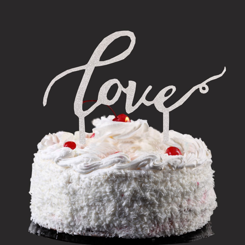 Love Cake Topper, Silver Color Arcylic Cake Decors for Wedding/Engagement/Anniversary Party Decoration, Bridal Showe Party Favor