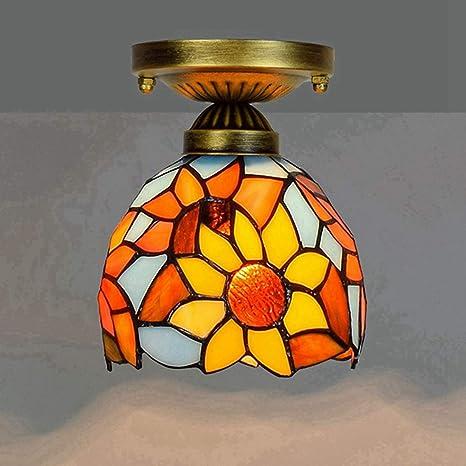 LeiLight Tiffany, Estilo Vintage, luz de Techo, lámpara de ...