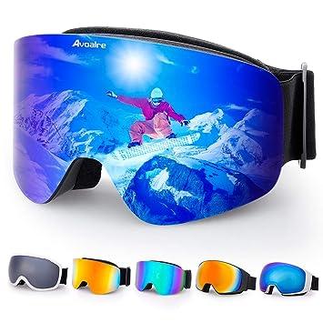 d0bfcd795e503 Avoalre Lunettes de Ski Protection Adulte Masque de Ski Femme et Homme  Masque Ski Snowboard Neige