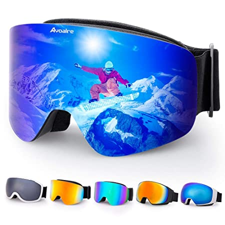 4155aff2ebfa Avoalre Ski Goggles Men and Women OTG Anti-fog Skiing Over Glasses UV400  Protection Snowboard
