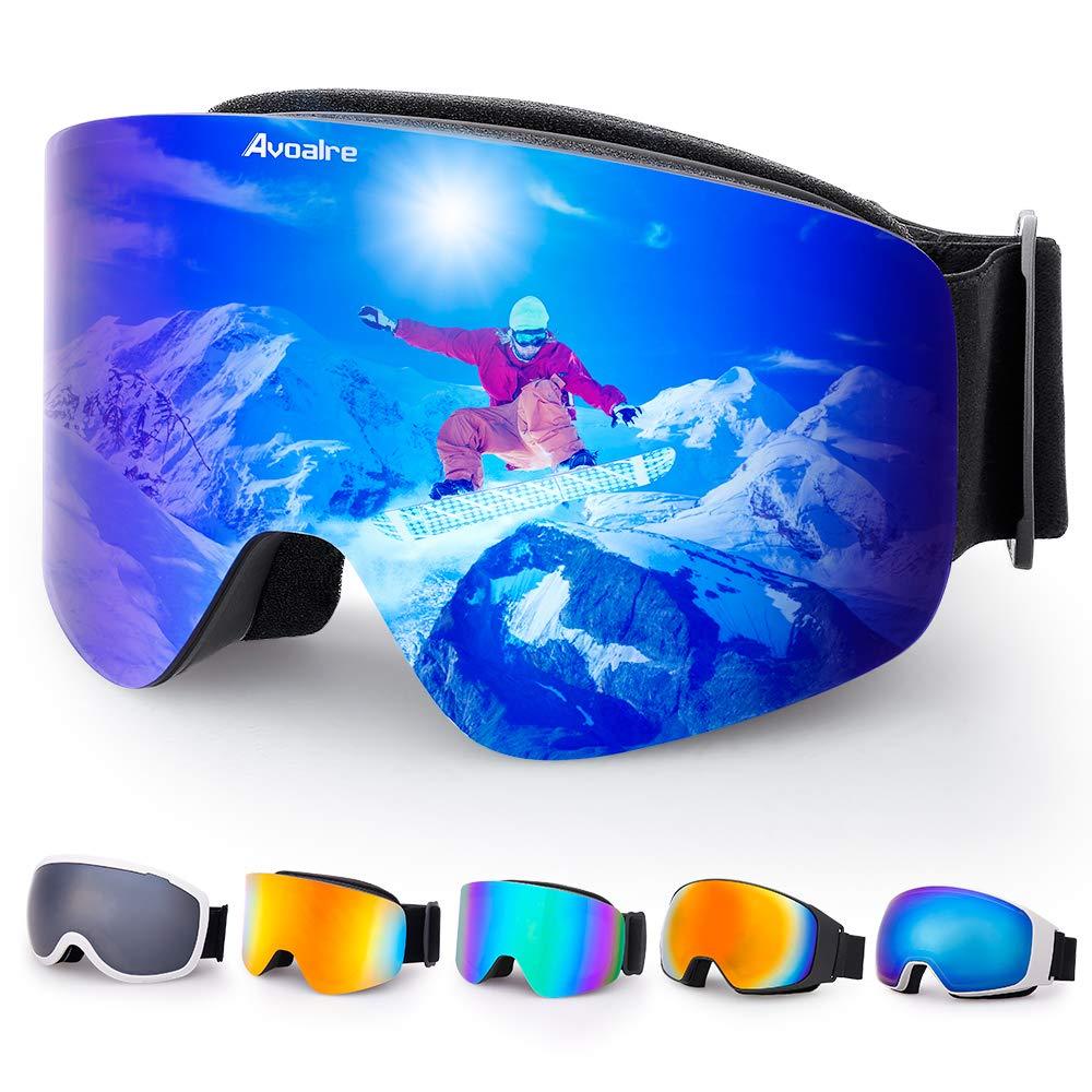 679f401ec4e4c Avoalre Lunettes de Ski Femme Homme Masque de Ski Adulte UV 400 OTG  Protection Snowboard Anti