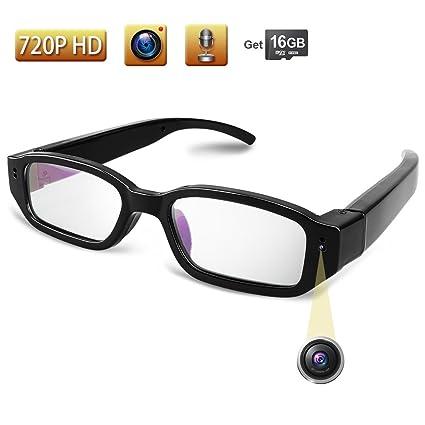 TEKMAGIC 16GB 1280x720P HD Cámara Espía Usable Gafas con Camara Videocámara Grabador de Vídeo Portátil Mini