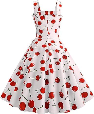 FRAUIT damska sukienka koktajlowa w stylu lat 50., sukienka bez rękawÓw, sukienka wieczorowa, wieczorowa, na bal, sukienka z koronką, długość do kolan, rockabilly, sukienka w talii z nadrukiem wi