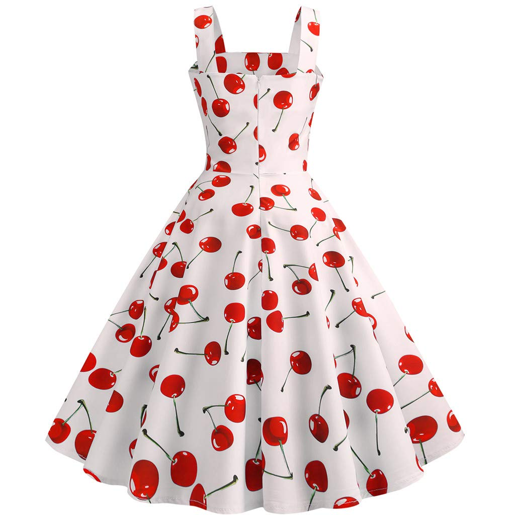 Vintage Dresses for Women,Women Vintage 1950s Sleeveless Strappy Printing Evening Party Prom Swing Dress White by WENOVL