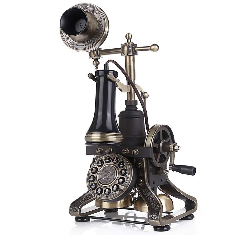 固定電話 ロータリーダイヤル電話ヨーロッパクラシックレトロ電話固定電話ヴィンテージ樹脂ホーム固定電話コード付き電話ハンズフリー家の装飾オフィスクラフト 固定電話 (サイズ さいず : Push button dial) B07QYQF2S2  Rotary Dial