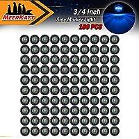 Meerkatt (Pack of 100) 3/4 Inch Mini Round Smoked Lens Blue LED Bullet Side Marker Indicator Light Clearance Lamp Waterproof Truck Car ATV Trailer Marine Bus RV black rubber grommets 12V DC Universal