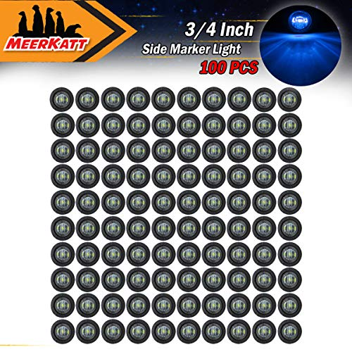 Meerkatt (Pack of 100) 3/4 Inch Mini Round Smoked Lens Blue LED Bullet Side Marker Indicator Light Clearance Lamp Waterproof Truck Car ATV Trailer Marine Bus RV black rubber grommets -
