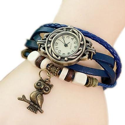 a10c227434a0 Wa Reloj de Pulsera Brazalete Cuero Trenzado Retro para Mujer con Colgante  de Búho