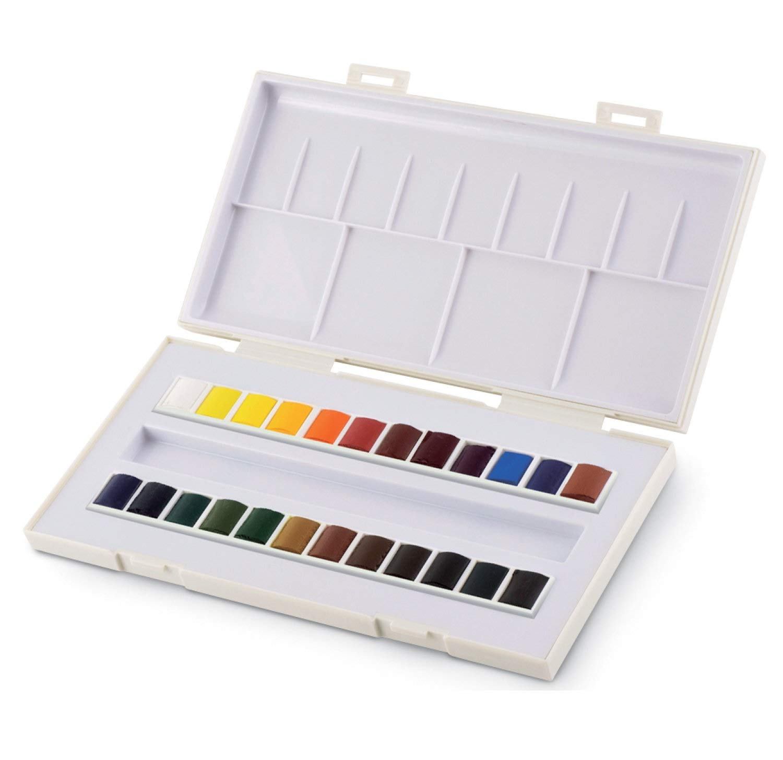 Set studio de acuarela, 24 medio godets,Caja de pintura de acuarela plástica Sennelier,MADE IN FRANCE: Amazon.es: Hogar
