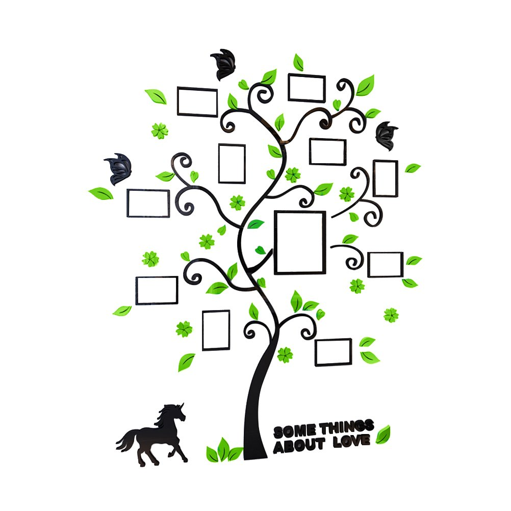 Vosarea Photo Arbre Sticker Mural 3D Cristal Décoration Murale Art Mural Autocollant Creative Home Decor Enfants Filles garçons Chambre à Coucher Salon : pièce – Noir + Vert Clair