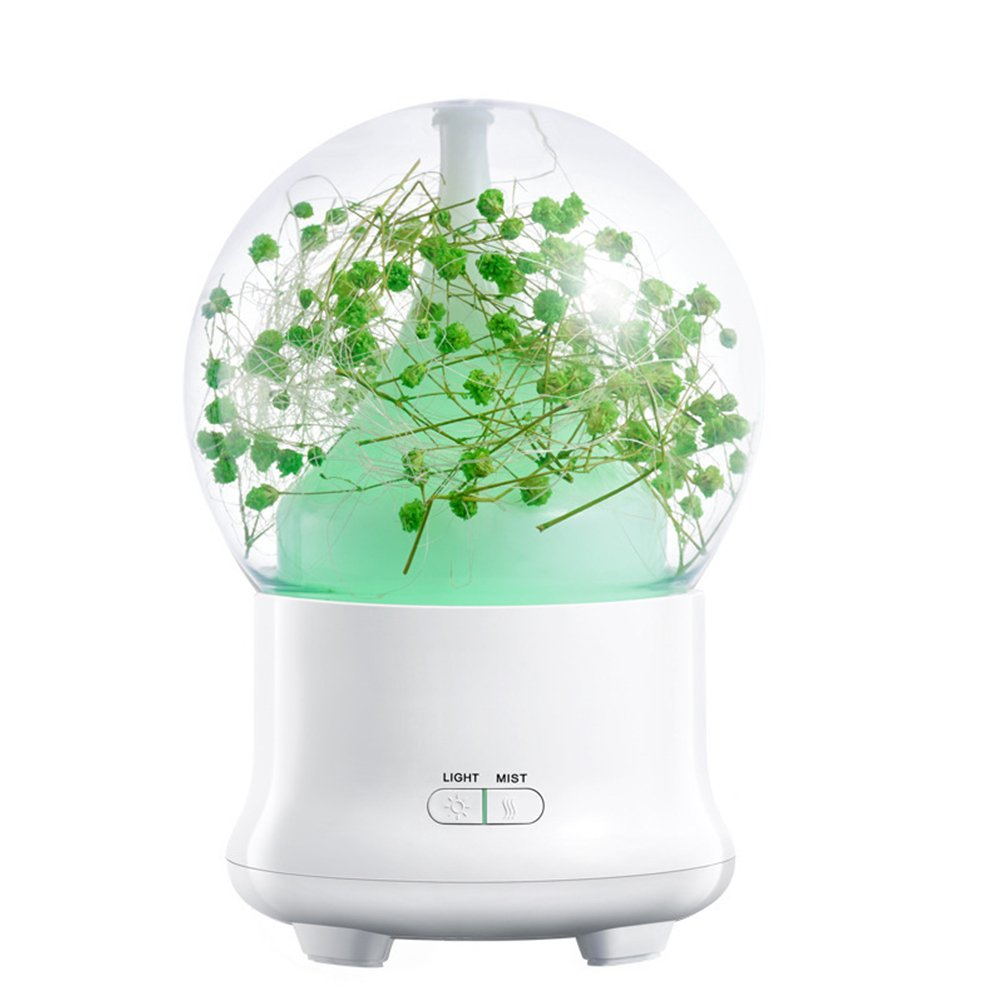 Zehui Stylish Humidifier Aroma Diffuser Colorful LED Night Light for Decoration, Little Green Flowers, Adjustable Mist Mode and Waterless Auto Shut-off