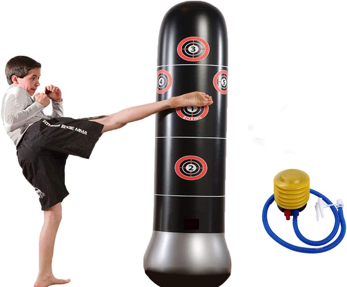 eforoutdoor Fitness Punching Bag Inflatable Punching Bag自立Kickingバッグde-stress Boxingターゲットバッグwith 1ペアKids Punching用手袋子供用大人用