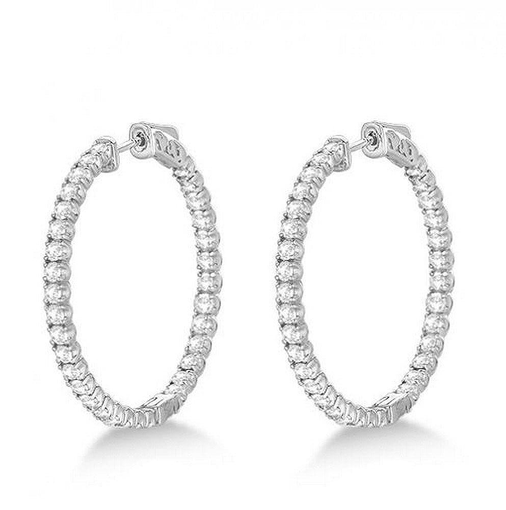 3.25ct 14k Gold Large Round Diamond Hoop Earrings