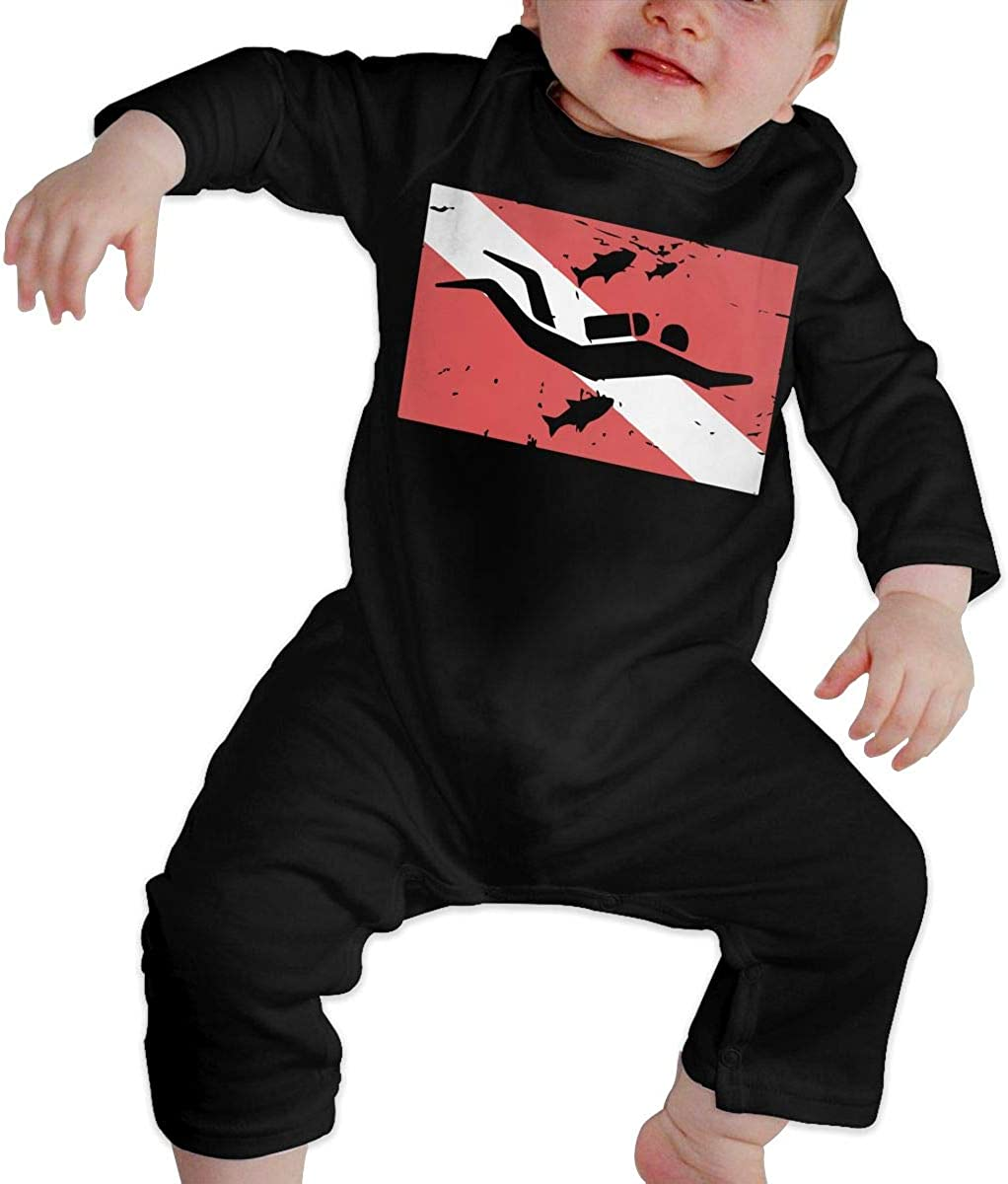 YELTY6F Scuba Dive Flag Printed Newborn Infant Baby Boy Girl One-Piece Suit Long Sleeve Outfits Black