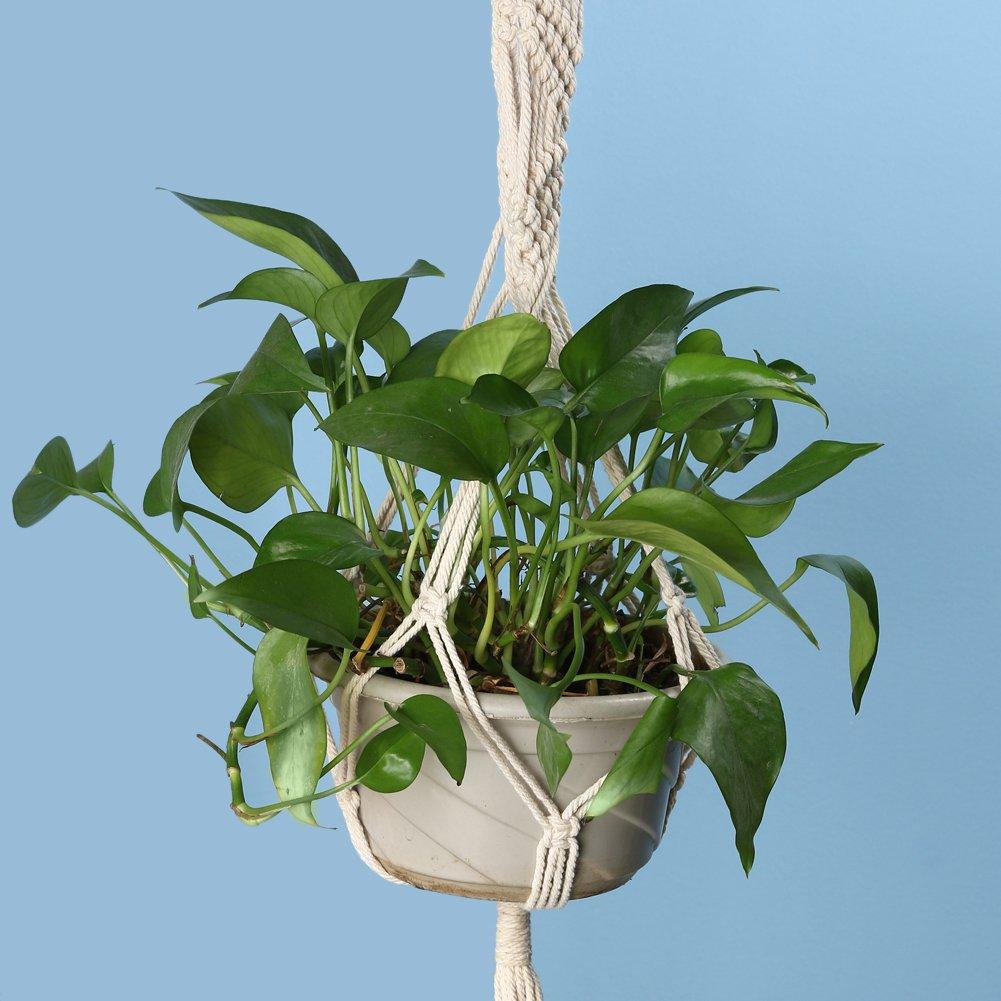 A Everpert Vintage de nudo planta percha cesta verde maceta macram/é cuerda de elevaci/ón