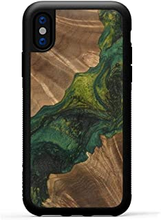 product image for Carved - Wood+Resin Case for iPhone Xs/iPhone X - One-of-A-Kind, Protective Traveler Bumper Cover (ID: 117674, Green)