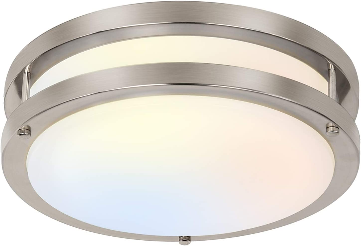13 Inch Flush Mount Led Ceiling Light Fixture 3000k 4000k 5000k Adjustable Ceiling Lights Brushed Nickel Saturn Dimmable Lighting For Hallway Bathroom Kitchen Or Stairwell Etl Listed Amazon Com
