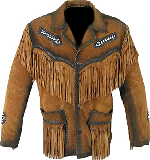 Classyak Mens Western Cowboy Fringed Jacket Suede Brown X-Small