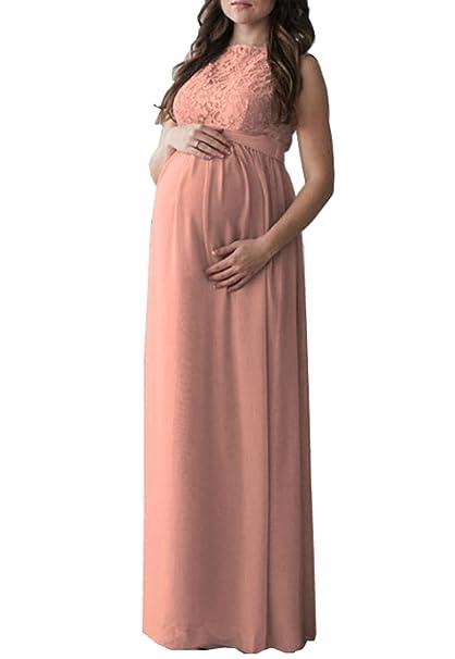 cae44894d8a D-Pink Women Maternity Chiffon Lace Maxi Dress Elegant Party Cocktail Pregnant  Dress  Amazon.co.uk  Clothing