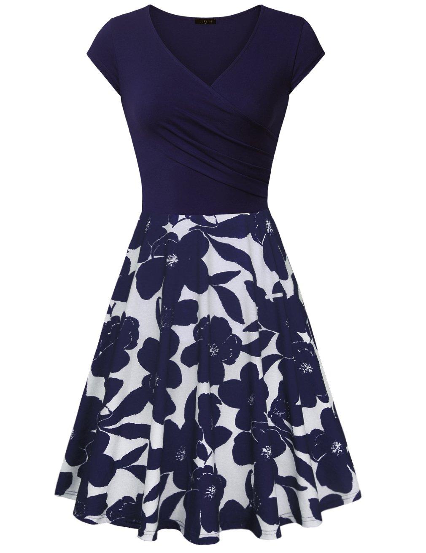Laksmi Dress for Women Elegant, Floral Patchwork Casual Dress A Line Cap Sleeve Sexy V Neck,Multcolor Blue Medium
