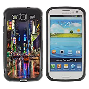 iKiki Tech / Estuche rígido - Broadway Street City New York Rain Lights - Samsung Galaxy S3 I9300