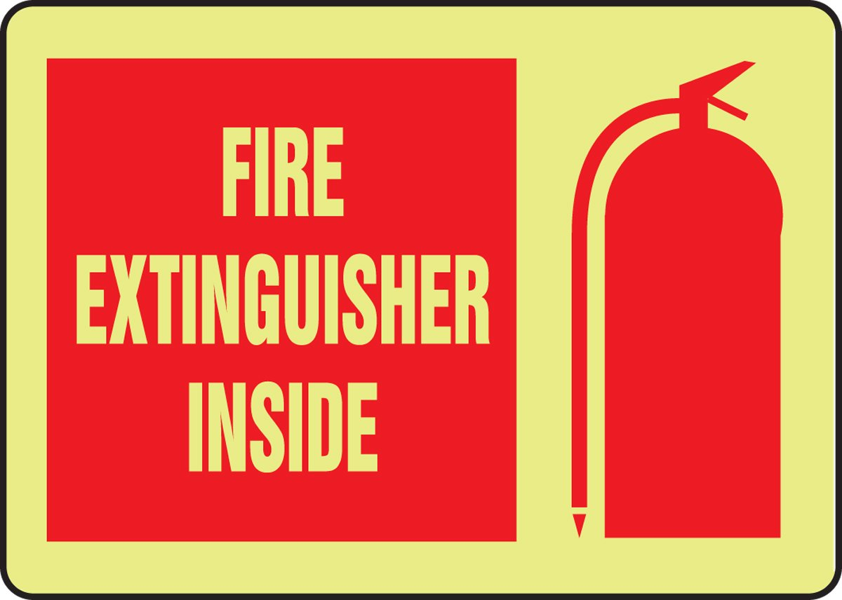 Plastic 10 Height Red on Glow LegendFIRE EXTINGUISHER INSIDE 10 Length x 14 Width x 0.070 Thickness Accuform MLFX541GP Lumi-Glow Flex Adhesive Vinyl Sign