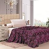 Plazatex Animal Prints MicroPlush Zebra King Blanket Pink & Black
