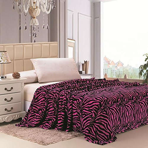 Plazatex Animal Prints MicroPlush Zebra King Blanket Pink & Black