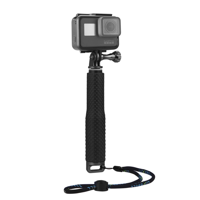 Luxebell Selfie Stick Aluminium Waterproof Telescopic Pole Monopod for Gopro Hero 6 5, 4, Fusion, Session, Black, Silver, 3+, 3, 2, 7'-19' 7-19