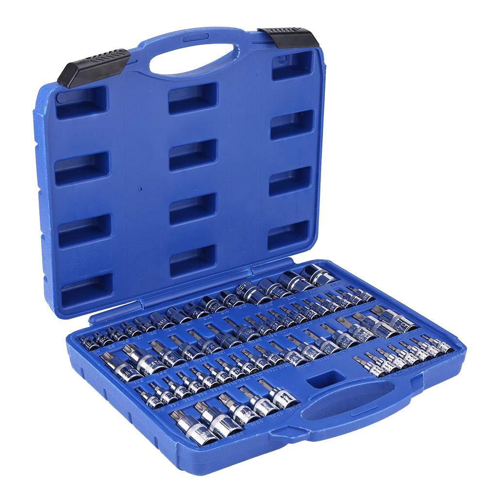 Burappoi Master Torx Star Socket Set, 60Pcs Tamper Proof Torx Star Socket Bits Tool Kit Set 1/4'' 3/8'' 1/2'' Drive by Burappoi