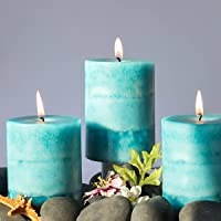 Pillar Candles Scented, Set of 3 Long-Lasting Scented Candles, Ocean Breeze Scented Candles for Home Décor, Bathroom…