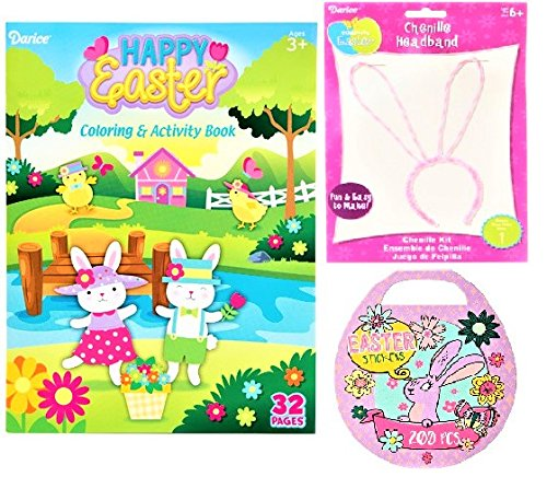 Easter Basket Stuffers Happy Easter Coloring and Activity Book: 32 Pages and Chenille Bunny Ears Headband Kit and Easter Egg Mini Sticker Book: 200 Stickers Bundle of 3 - Items -