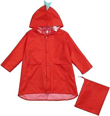 Fenleo Raincoat for Kids Age 2-7 Rain Jacket Dinosaur Shaped Lightweight Rainwear for Boy Girl