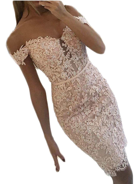 bluesh TTYbridal Short Prom Dresses Lace Off Shoulder Cocktail Homecoming Dress P54