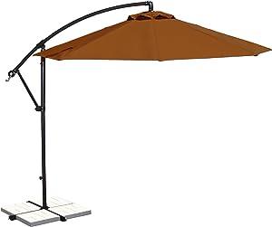 Island Umbrella NU6400TC Santiago Octagonal Cantilever Umbrella, 10', Terra Cotta Olefin