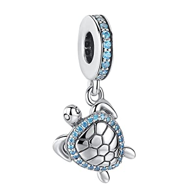 7992a0491 ANGELFLY 925 Sterling Silver Blue Crystal Sea Turtle Pendant Charm Ocean  Animal Charm fit Pandora Charms