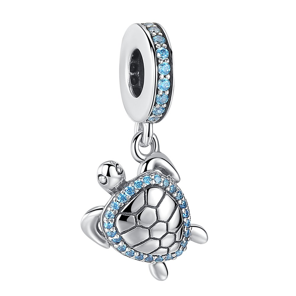 ANGELFLY 925 Sterling Silver Sea Turtle Charm Dangle Beads with Ocean Blue CZ Lucky Animal Charms for Bracelets