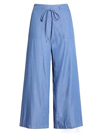 61833c9c465 Uaneo Women s Denim High Elastic Waist Wide Leg Ankle Length Jeans Pants  with Drawstring (X