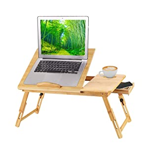 Urbenfit Bamboo Laptop Desk Adjustable Angle, Foldable Breakfast Tray with Drawer, Portable Foldable Bed Serving Tray Table for Eating, Laptop Holder for Working