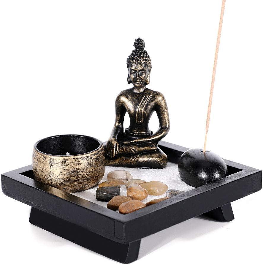 GoMaihe Buda Figura Estatua Candelabro, 12.5 x 12.5cm Portacandelitas Set Incienso Piedra Natural, Quemador de Incienso Candelabro para Meditacion Jardín Zen Relajarse Decoracion de Interiores