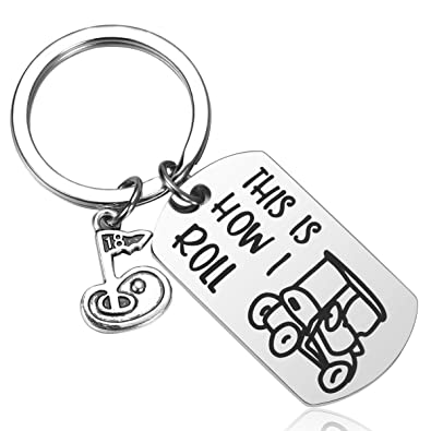 JanToDec This is How I Roll Golf Keychain Golf Cart Key Chains for Golfer Gift