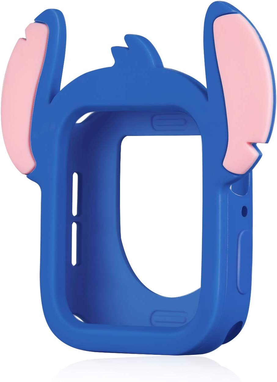 Sufcusny Cute Cartoon Silicone Bumper Case Monster Style Full Body Protective Frame Shockproof Cover Compatible with 44mm Apple Watch SE/Series 6/5/4, Deep Blue