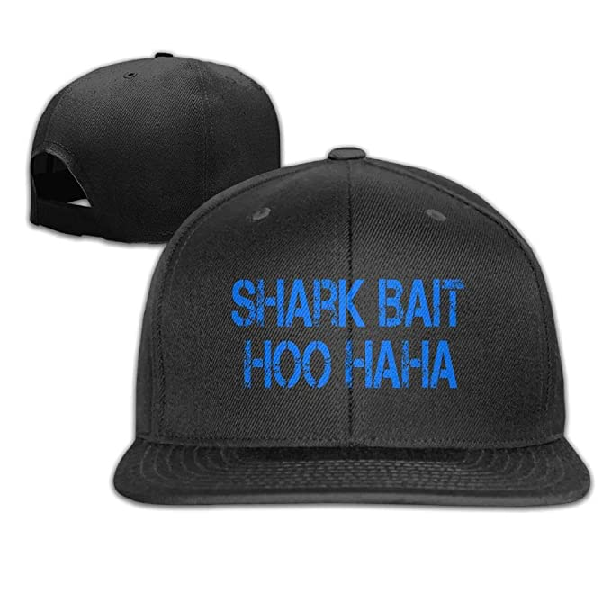 4d323eae9fa88 Outdoor Shark Bait HOO HA HA Flat Bill Plain Snapback Hat Adjustable  Trucker Baseball Cap Sun