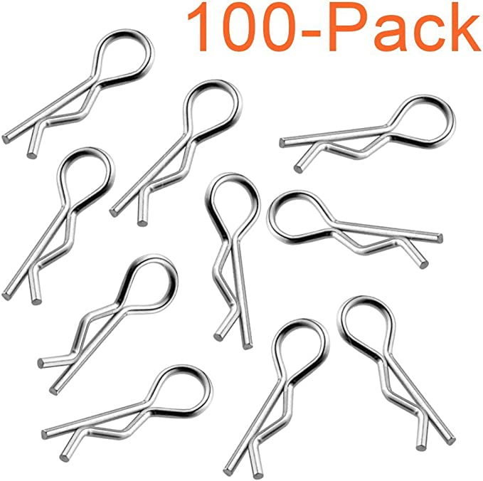 10-100 RC Body Clip Pin 1:8//1:10//1:12//1:16 Chrome//Stainless Steel