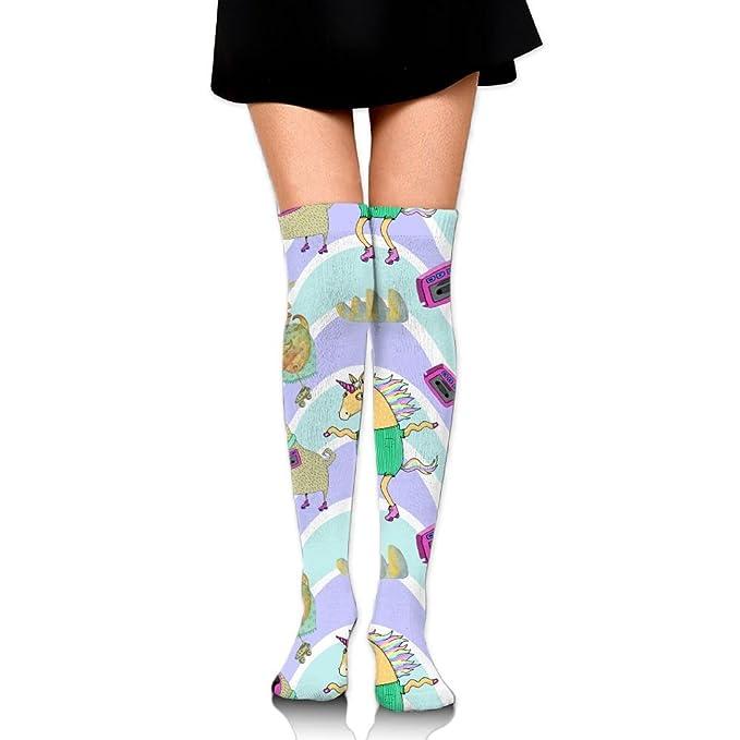 41198d0dfb3 Zaqxsw Funny Roller Skates Womens Socks Knee High Cotton Socks Thigh High  Stockings